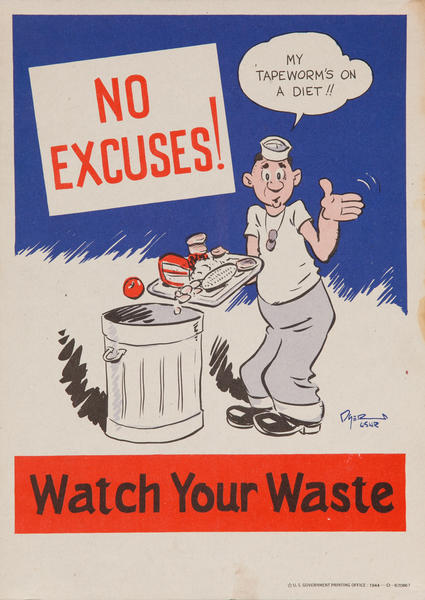 No Excuses! Watch Your Waste<br>WWII Conservation Poster