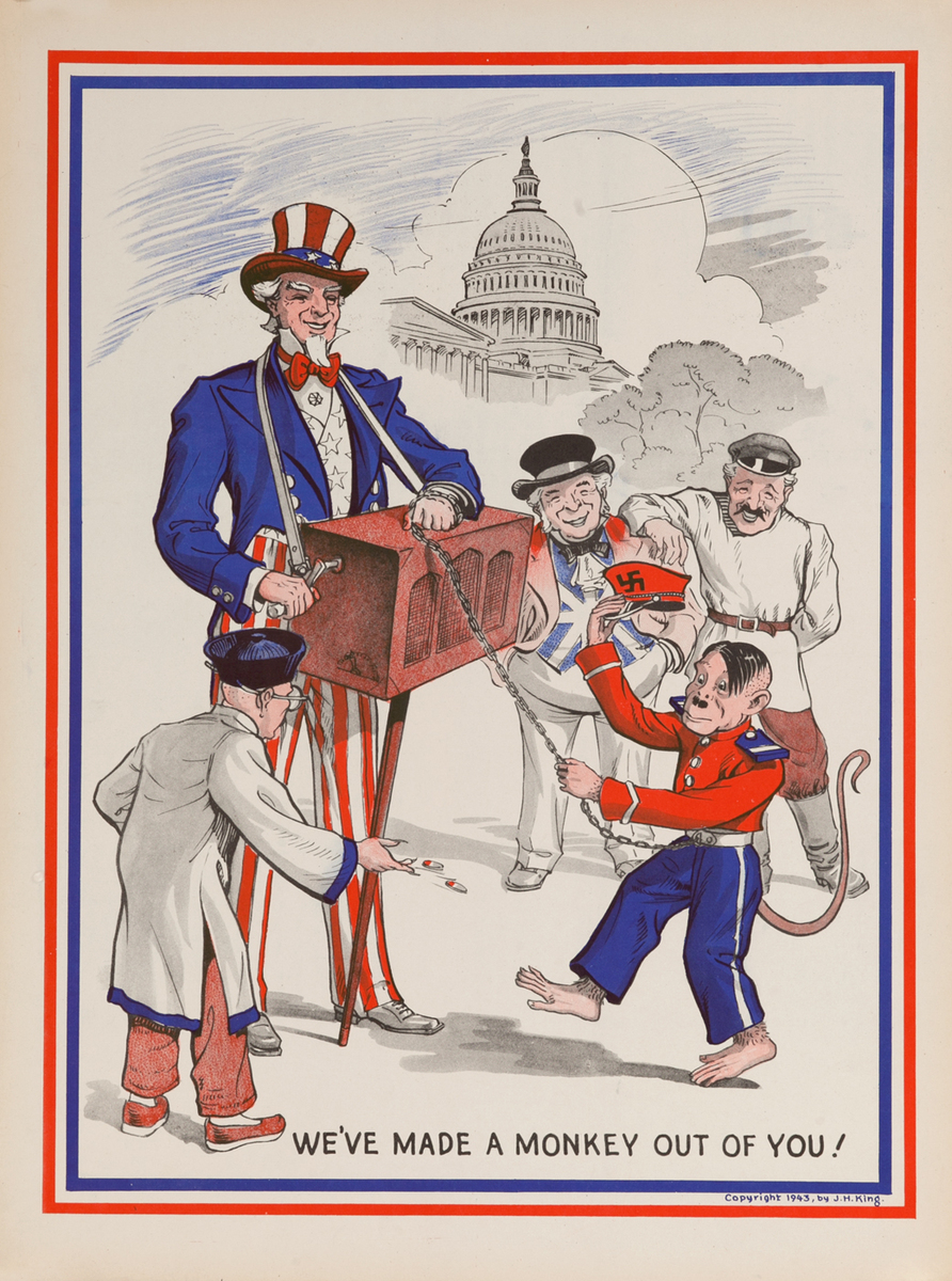 We've Made a Monkey Out of You! WWI Homefront Poster