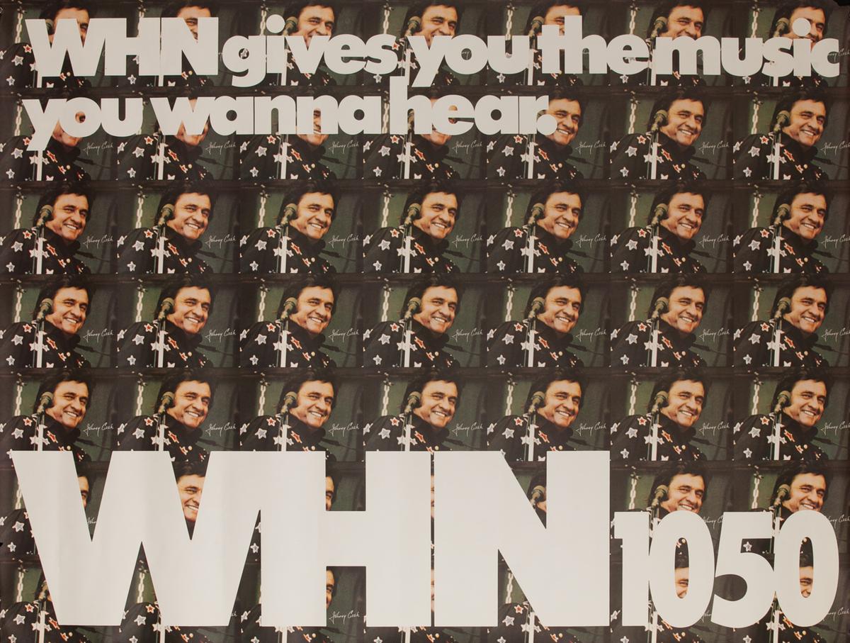 WHN 1050 Radio Advertising Poster, Johnny Cash