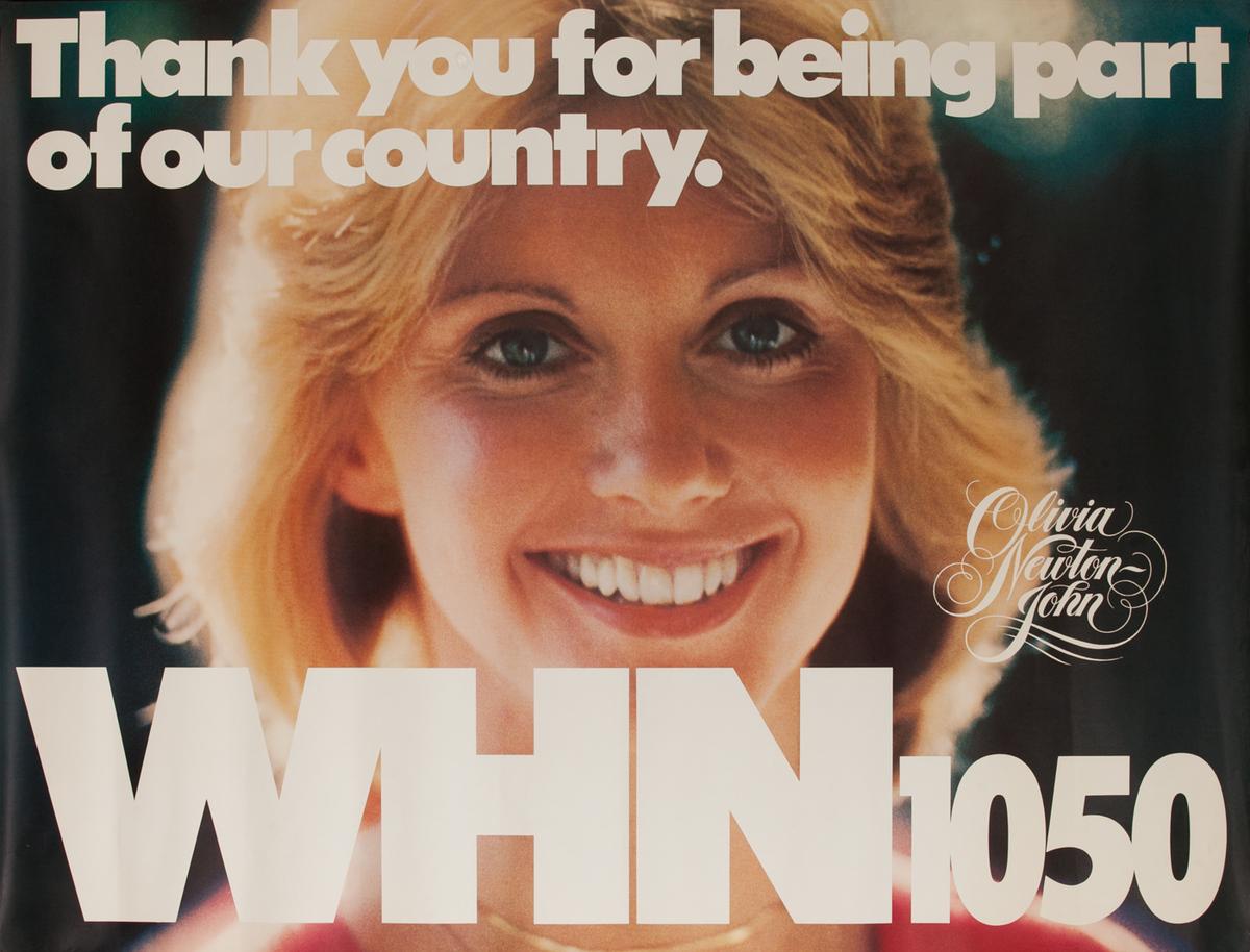 WHN 1050 Radio Advertising Poster, Olivia Newton John