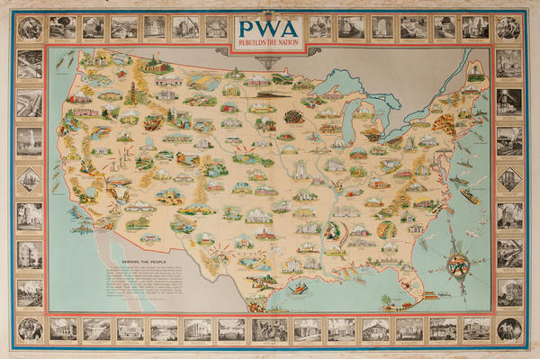 Public Works Administration Map Poster PWA Rebuilds the Nation