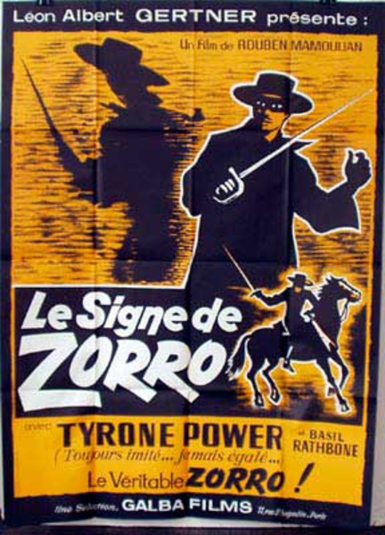 Mark Of Zorro French Release Vintage Movie Poster