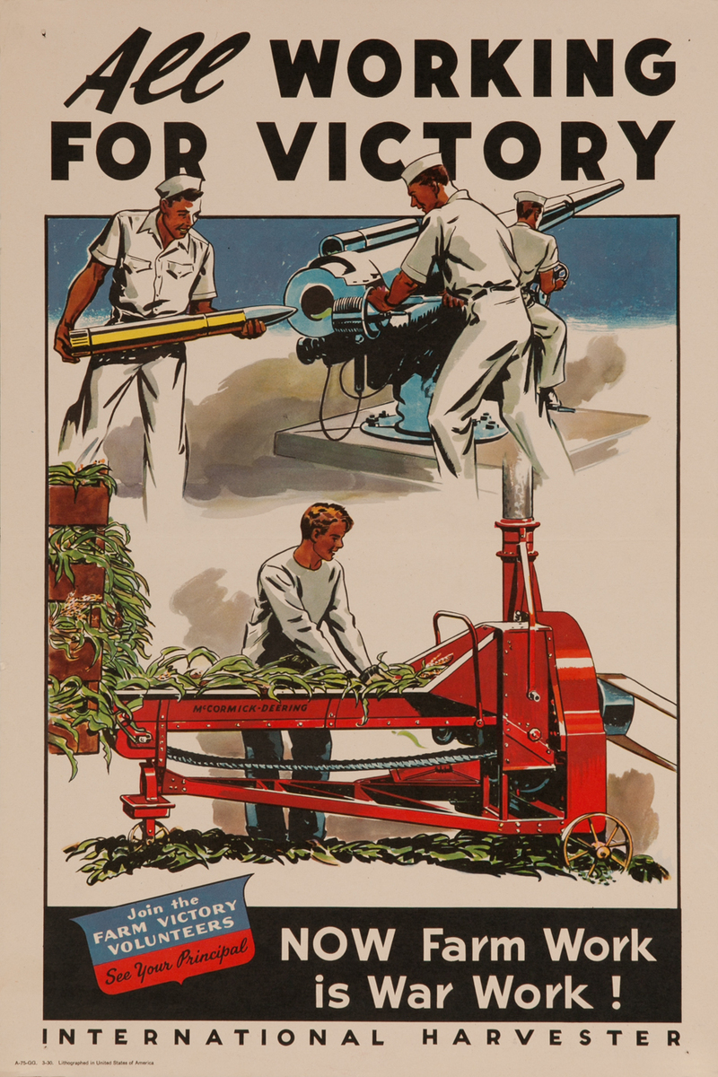 All Working For Victory, WWII International Harvester Poster