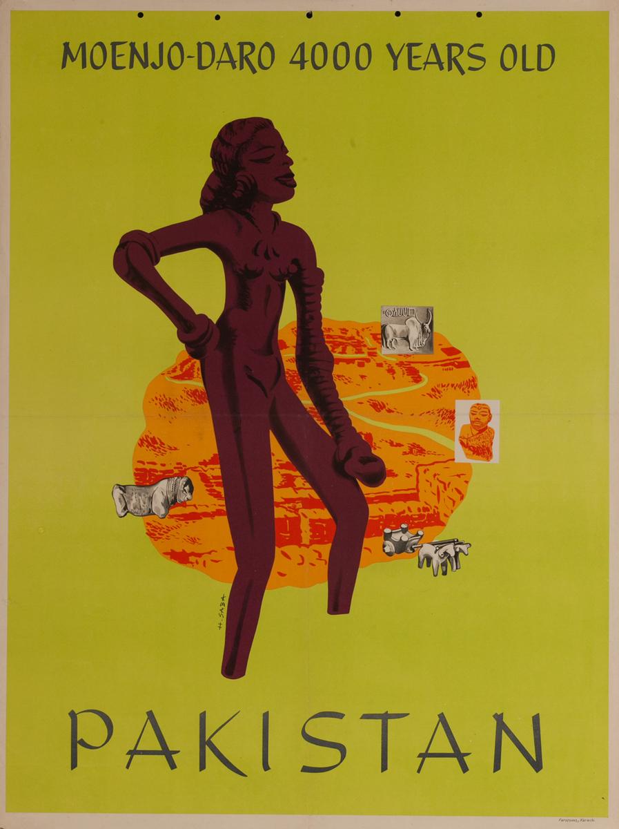 Moenjo-Daro 4000 Years Old<br> Pakistan Travel Poster