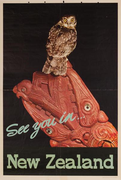 New Zealand Travel Poster Owl