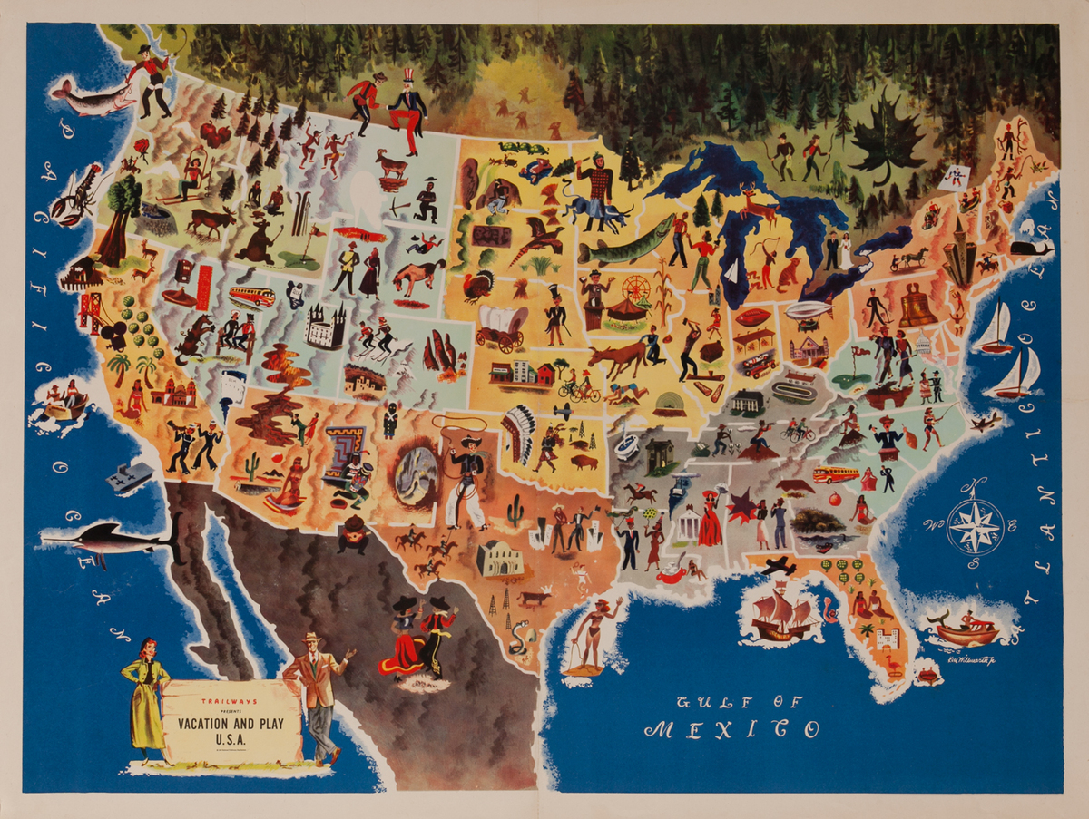 Trailways Vacation and Play USA Bus Poster