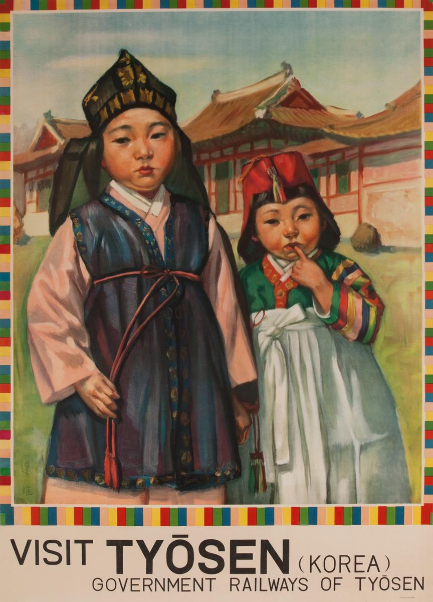 Visit Tyosen (Korea) Government Railways of Tyosen, Children in Traditional Costumes, English Language