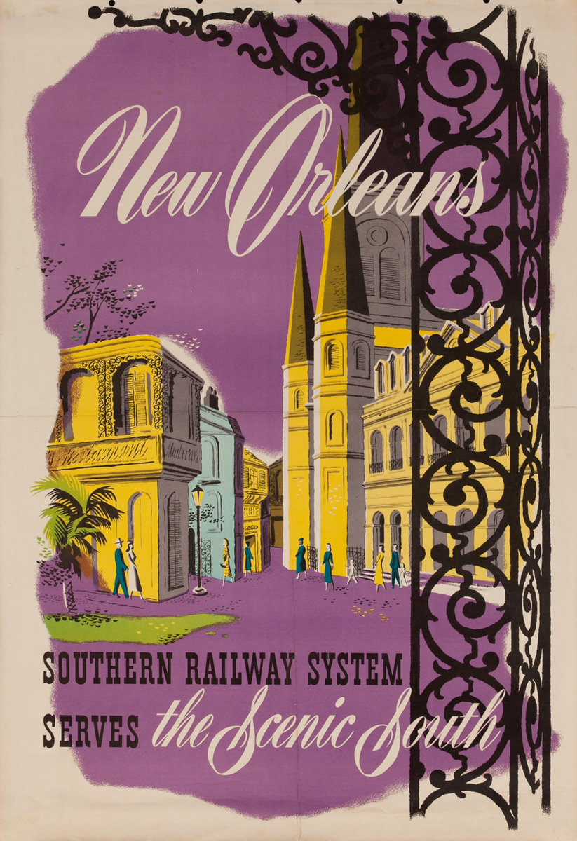 New Orleans, Southern Railway System Serves the Scenic South, Travel Poster