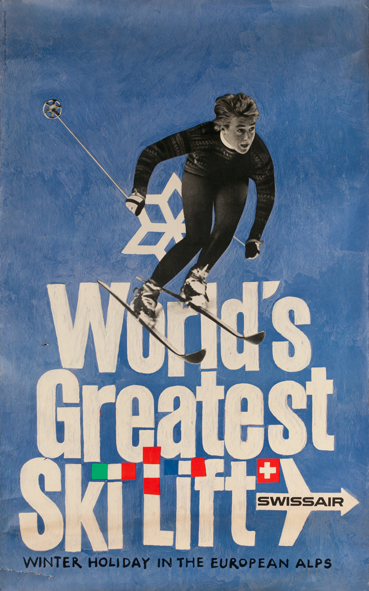 World's Greatest Ski Lift, Swissair Poster, Winter Holiday in the Eurpean Alps,