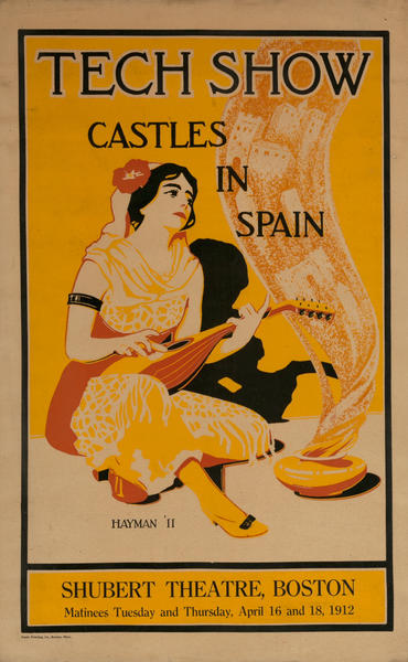 MIT Tech Show Poster, Castles in Spain, Shubert Theatre, Boston