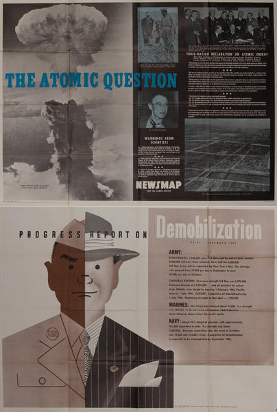 The Atomic Question / Progress Report on Demobilization WWII Newsmap