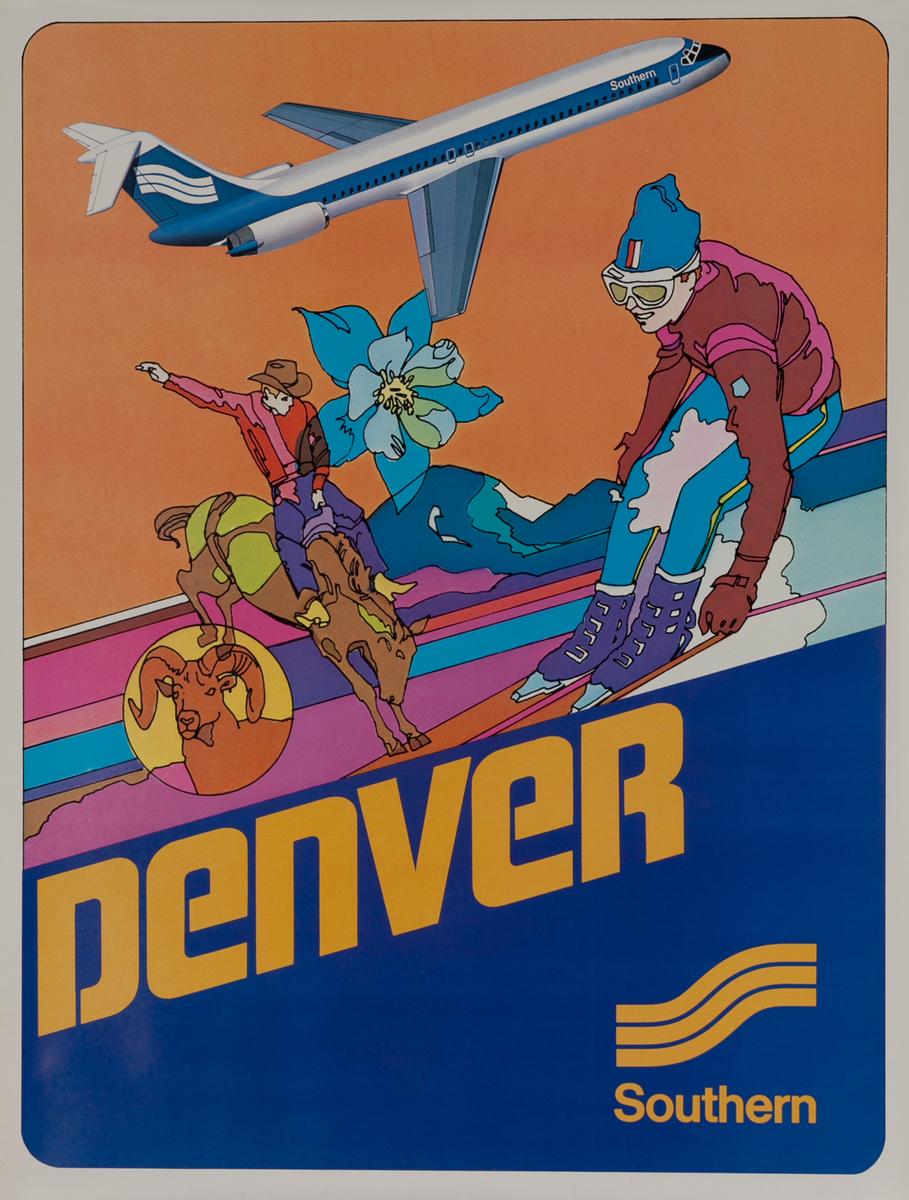 Southern Airways Travel Poster, Denver Colorado