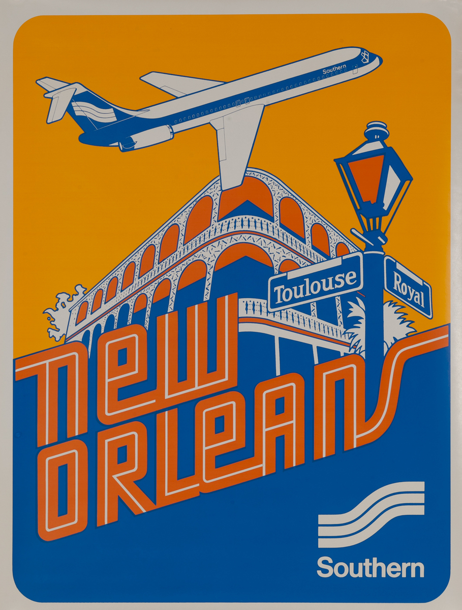 Southern Airways Travel Poster, New Orleans, Louisiana