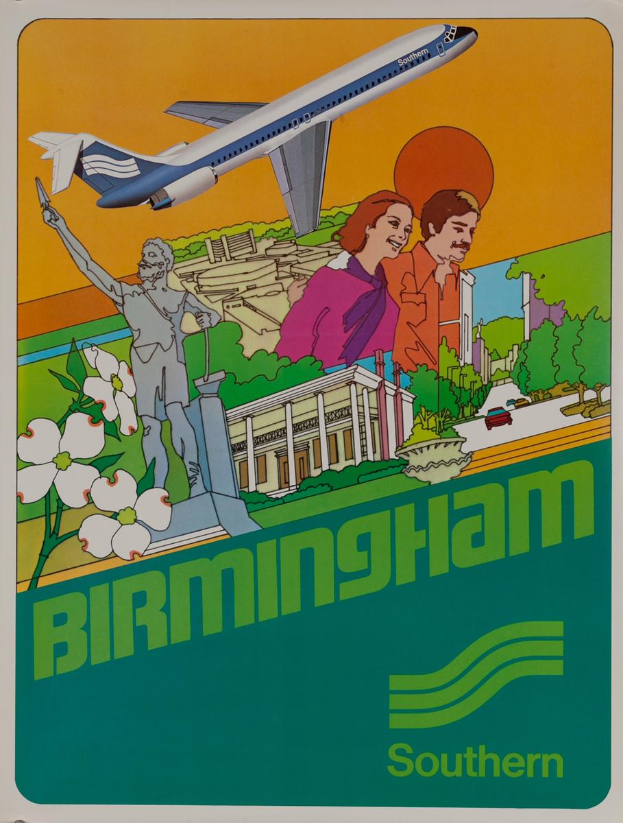 Southern Airways Travel Poster, Birmingham Alabama