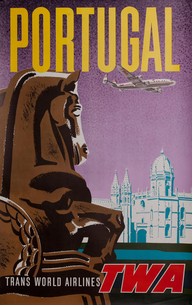 Portugal, Trans World Airlines TWA Travel Poster, Constellation