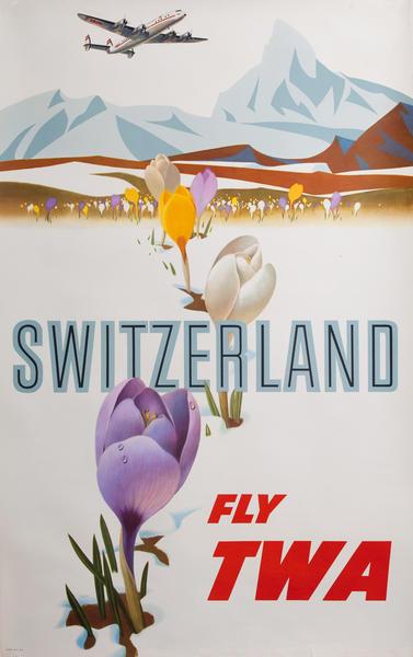 Switzerland Fly TWA, Trans World Airlines Travel Poster, constellation