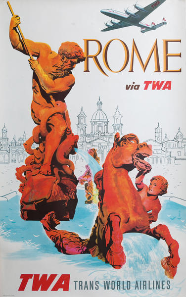 Rome via TWA, Trans World Airlines Travel Poster