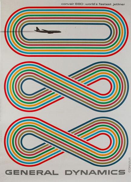General Dynamics Original Corporate Relations Poster Convair 880 World's Fastest Jet