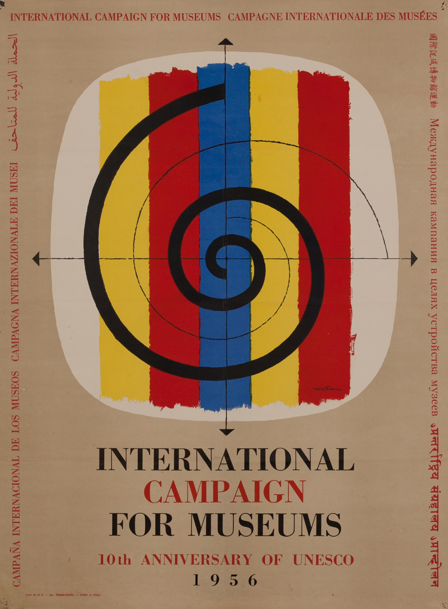 Internatinal Campaign for Museums, 10th Anniversary fo Unesco Art Poster