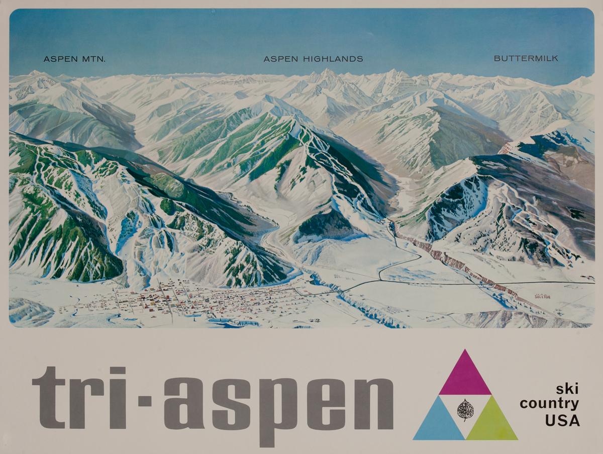 Tri Aspen Ski Country USA -Clorado Ski Trail Poster