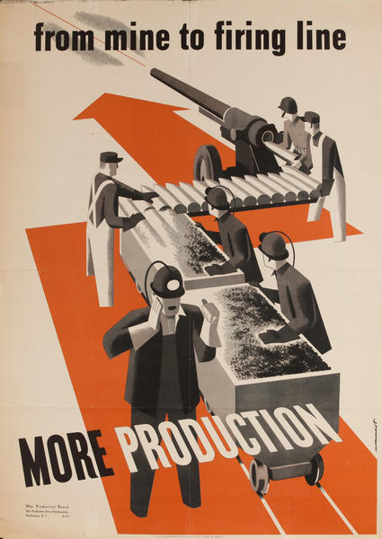 from mine to firing line More Production WWII War Production Board Poster