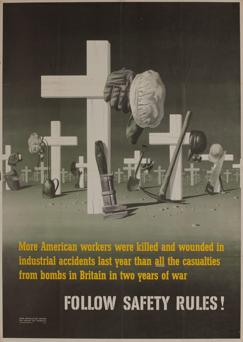 WWII War Production Board  Poster Follow Safety Rules!