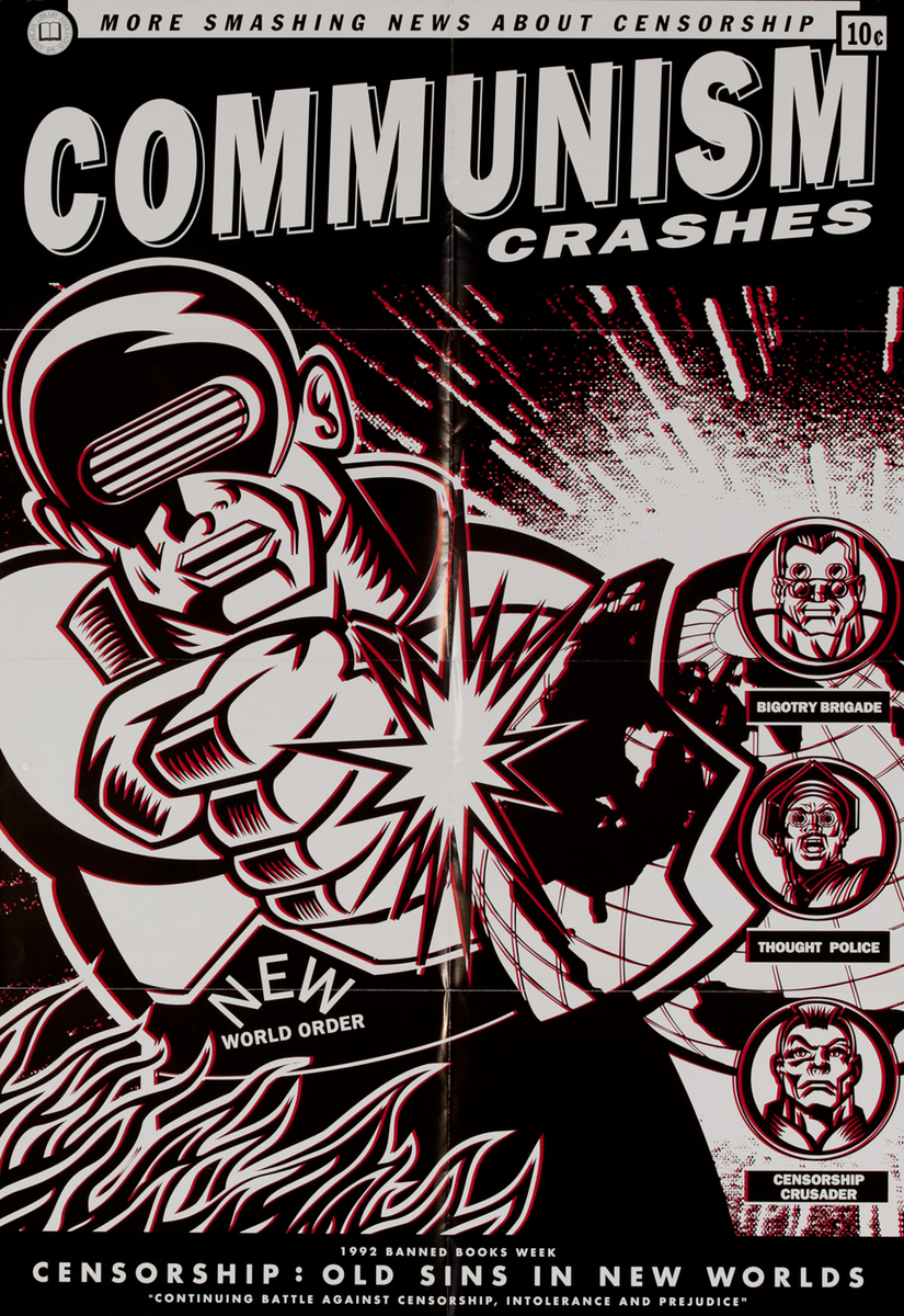 1992 Banned Book Week Poster Cmmunism Crashes  Censorship : Old Sins in New Worlds