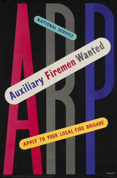 ARP British WWII Poster - Auxiliary Firemen Wanted