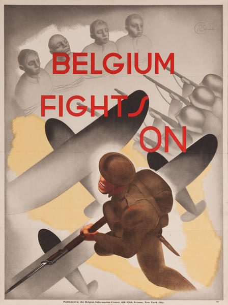 Belgium Fights On, WWII Propaganda Poster