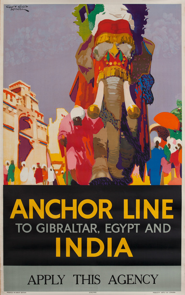 Anchor Line To Gibraltar, Egypt and India Cruise Line Travel Poster
