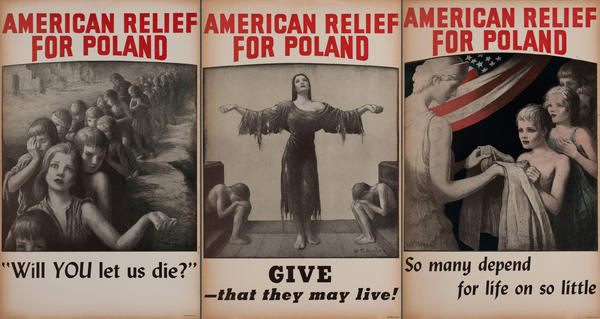 American Relief For Poland WWI Poster<br>set of 3 cards