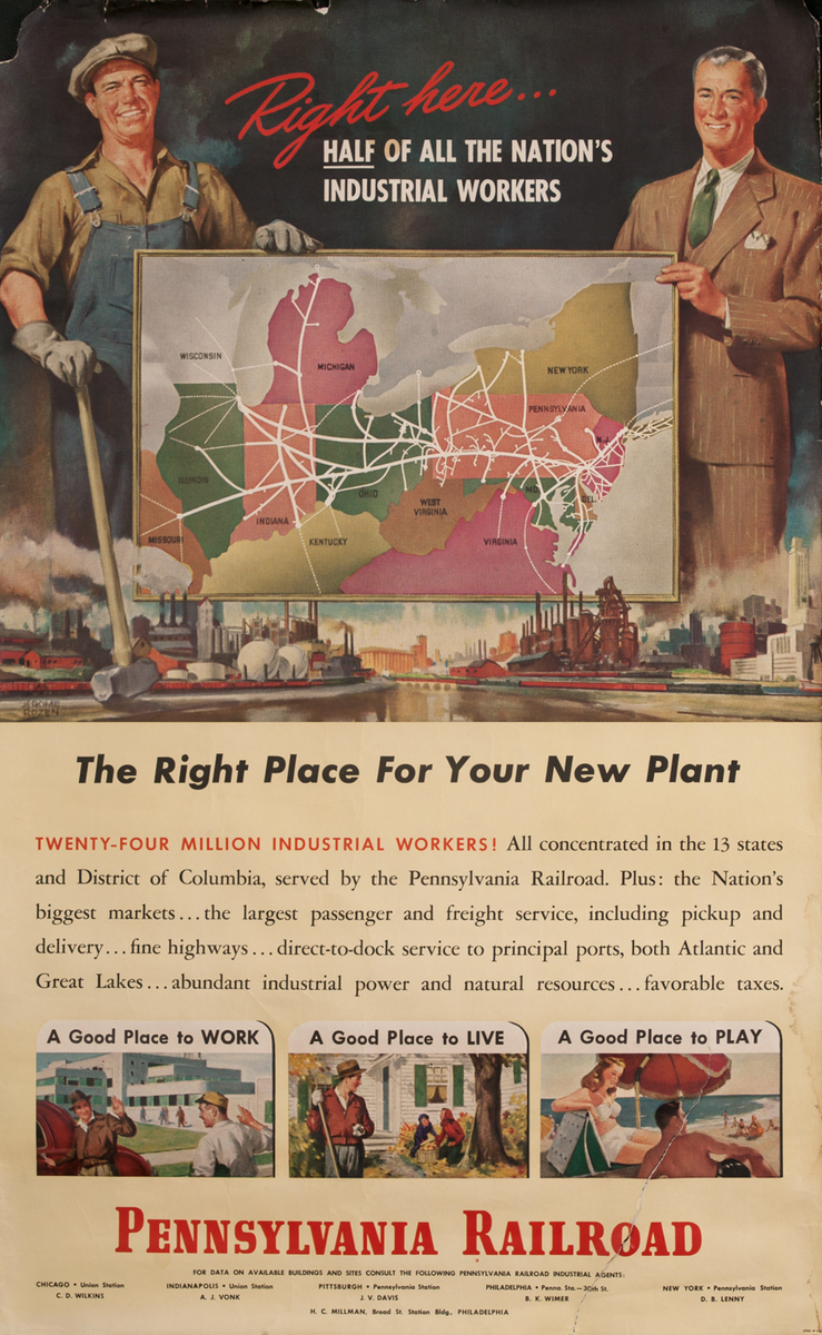 Pennsylvania Railroad, The Right Place for Your New Plant