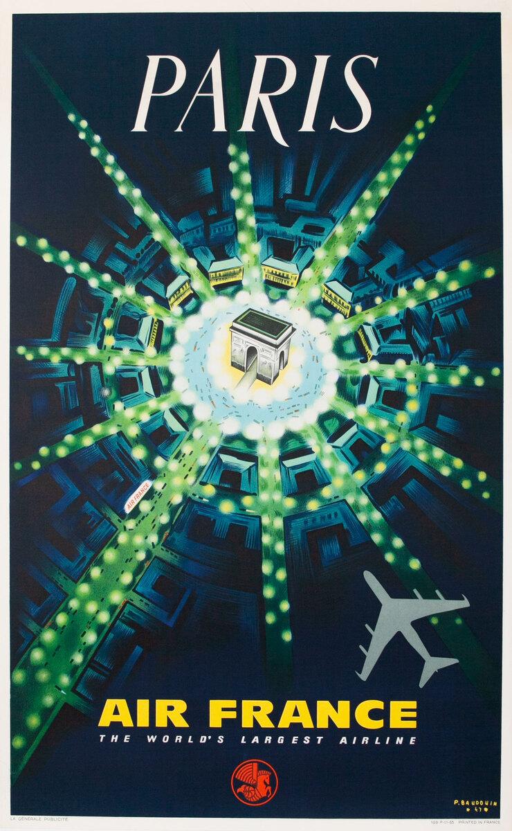 Air France Arc de Triomphe Original Travel Poster 1963