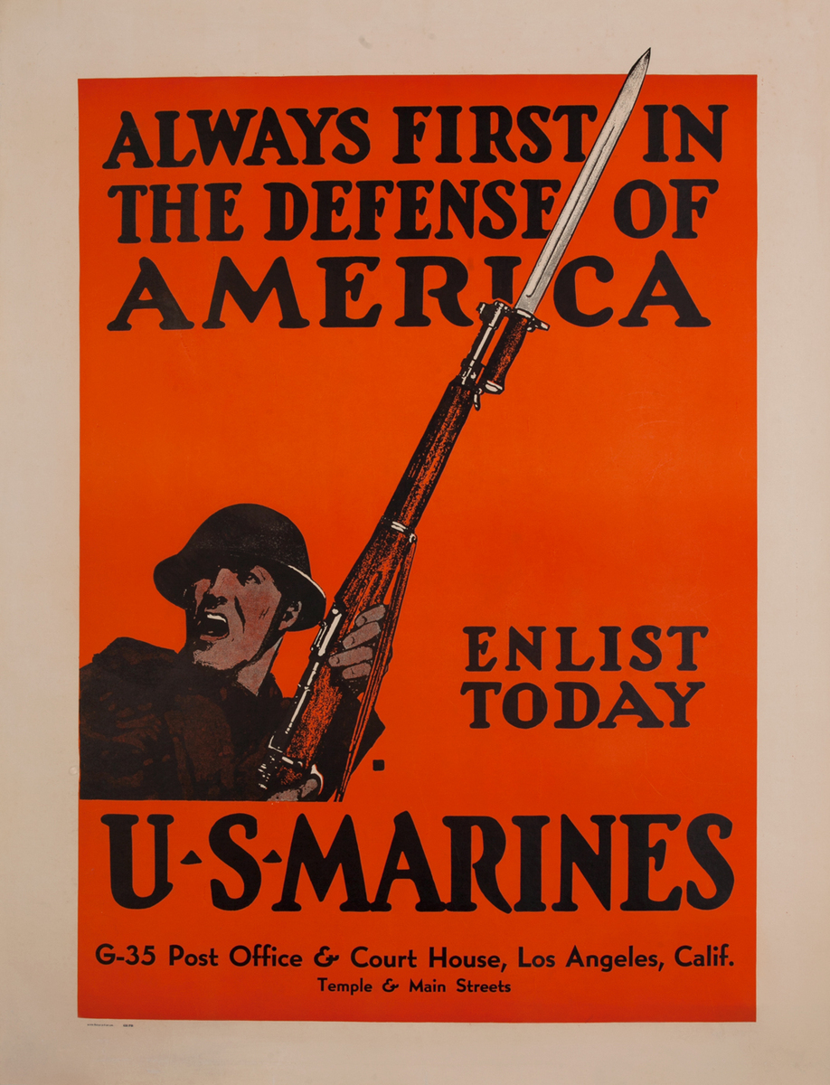 Always First in the Defense of America WWII US Marine Recruiting Poster