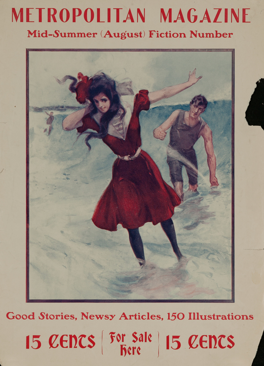 Metropolitan Magazine, Mid-Summer August Fiction Number, Couple Frlicking at the Beach