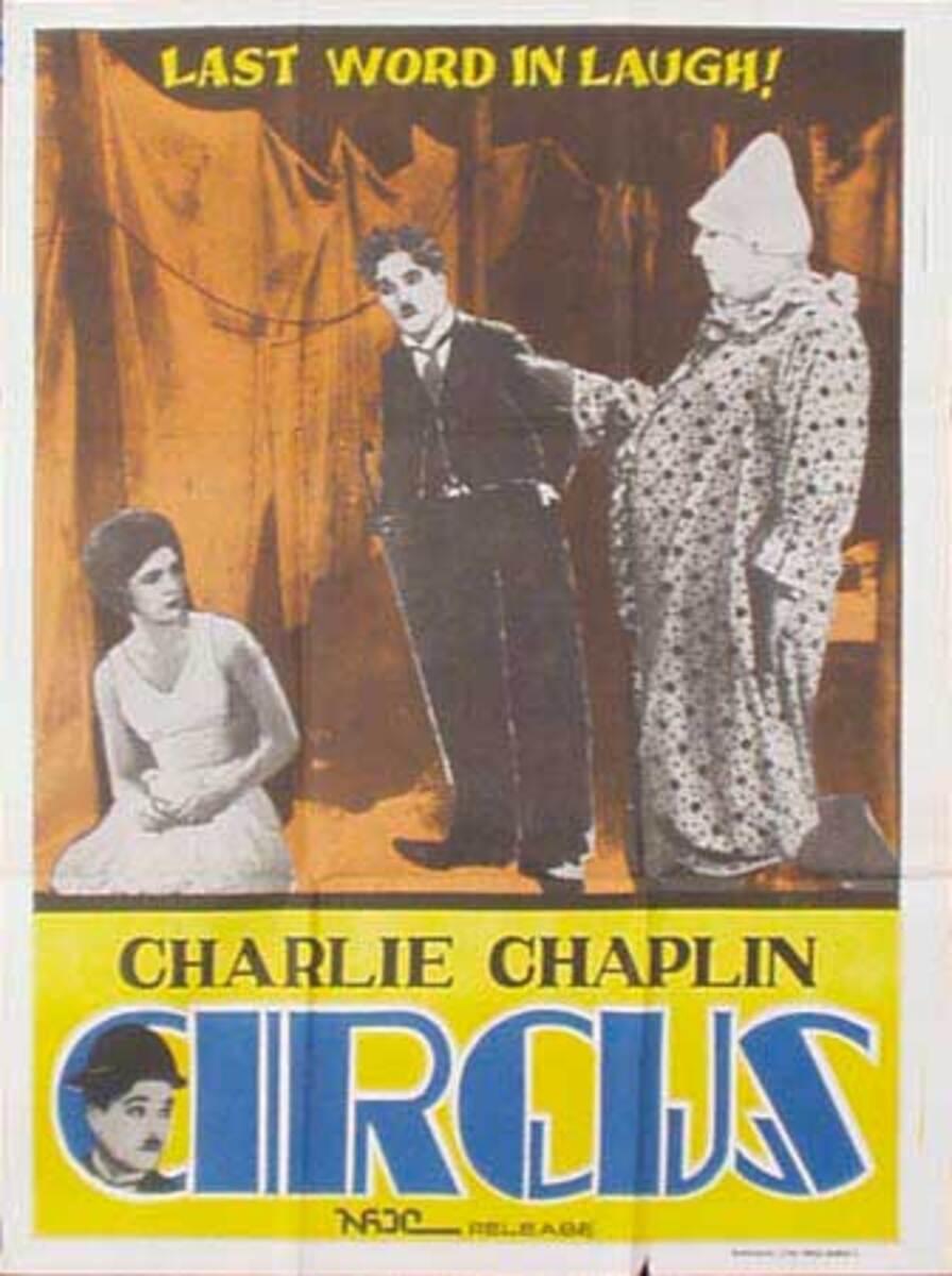 Charlie Chaplin Circus Original Vintage Movie Poster Indian Release