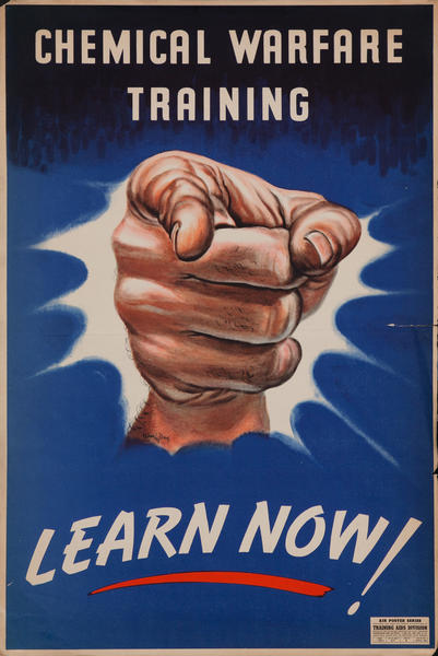 Chemical Warfare Training WWII Poster, Learn Now!