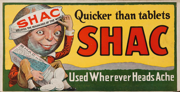 Shac Quicker than Tablets, Used Whenever Heads Ache, Trolley Car Poster