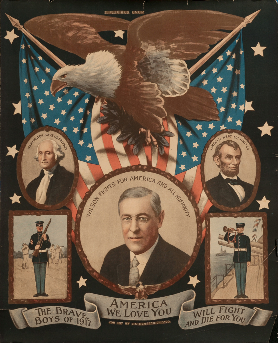 America We Love You WWI Homefront Poster, Wilson Fights For America and All Humanity