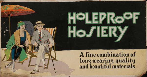 Holeproof Hosiery, Trolley Card Poster, Deck Chairs