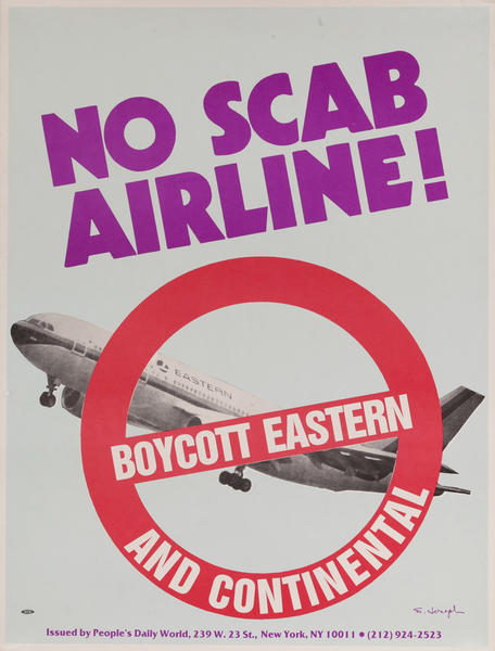 No Scab Airline Boycott Eastern and Continental