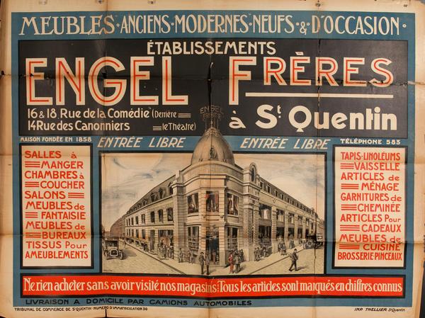 Etablissements  Engel Freres, French Furniture Store Advertising Poster.