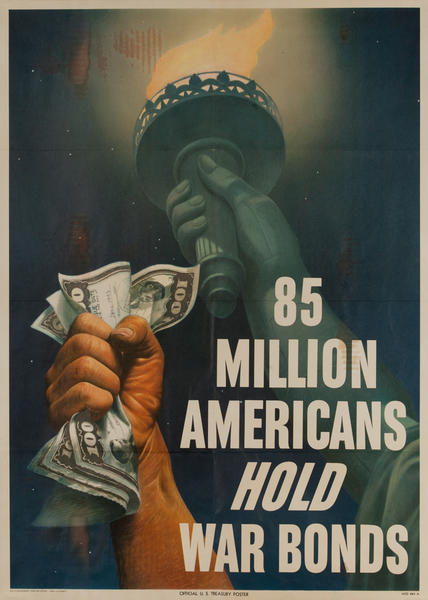85 Million Americans Hold War Bonds WWII Poster, large size