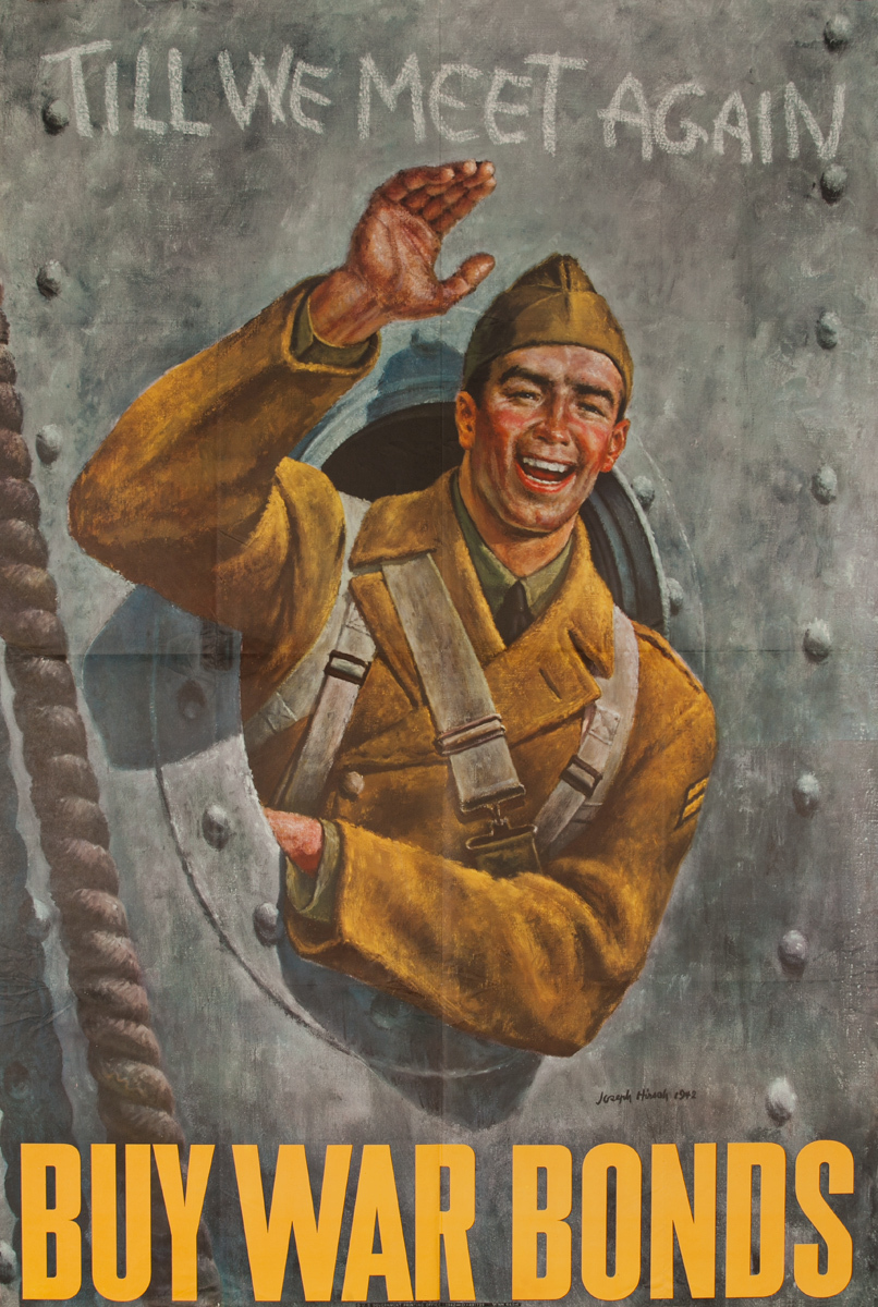 Till We Meet Again, Buy War Bonds, WWII Poster, extra large size