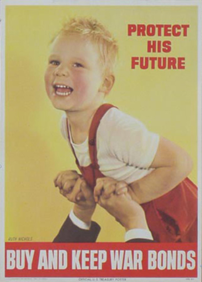 Protect His Future Original Vintage World War II Poster, large size