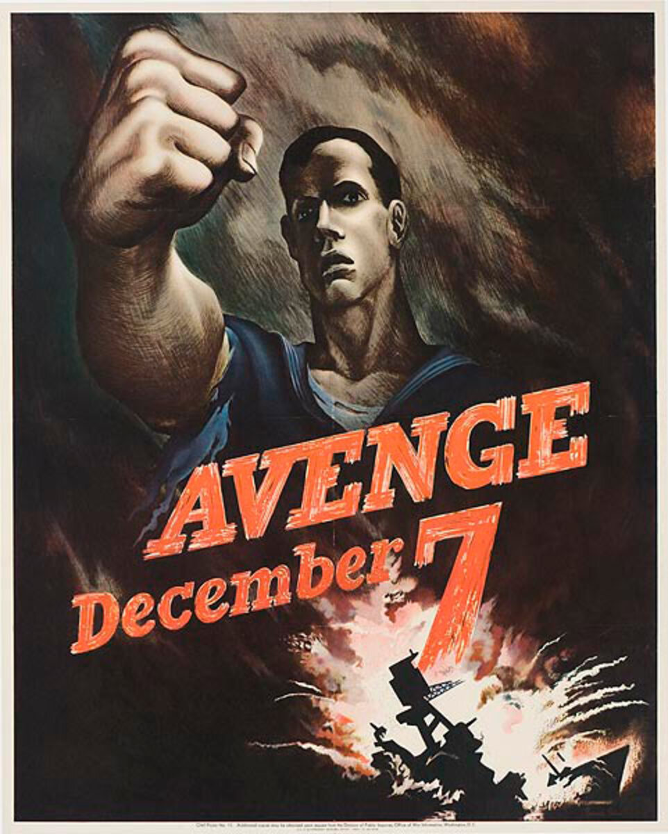 Avenge Dec 7 Original Vintage World War Two Poster, large size