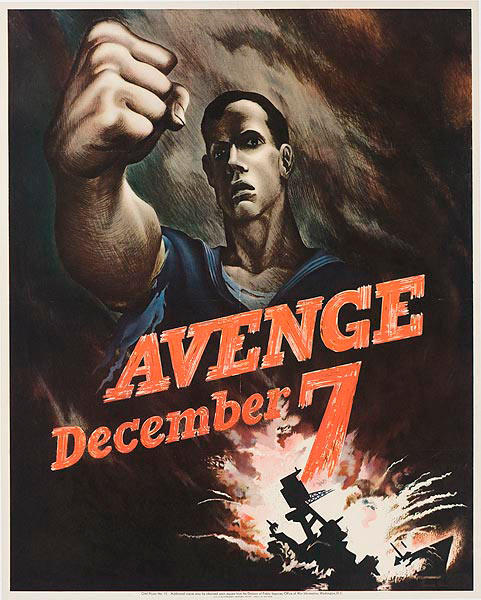Avenge Dec 7 Original Vintage World War Two Poster, large size