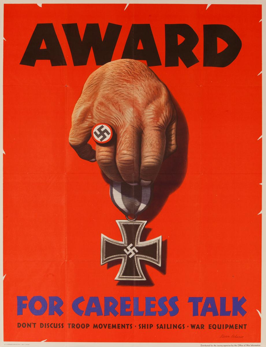 Award For Careless Talk. Original American WWII Poster, larrge size