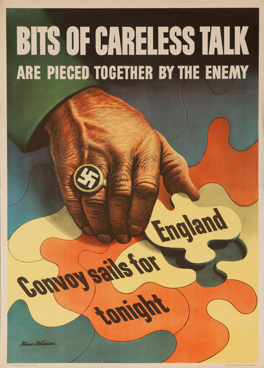 Bits of Careless Talk Are Pierced Together by the Enemy, Original WWII Poster, larrge size