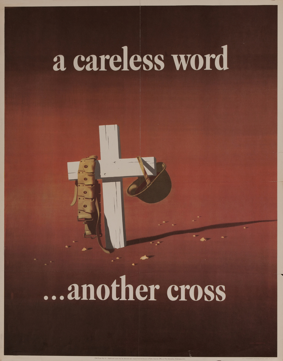 a careless word.. another cross, WWII Poster, large size